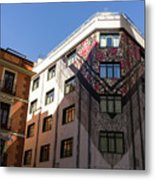 Whimsical Madrid - A Building Draped In Traditional Spanish Mantilla Metal Print