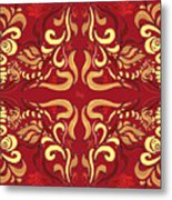 Whimsical Organic Pattern In Yellow And Red I Metal Print