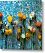 Whimsical Poppies On The Blue Wall Metal Print