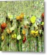 Whimsical Poppies On The Wall Metal Print