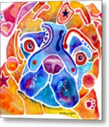 Whimsical Pug Dog Metal Print by Jo Lynch