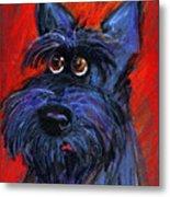 whimsical Schnauzer dog painting Metal Print