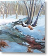 Whippany Brook In Winter Metal Print