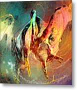 Whirled In Digital Rainbow Metal Print