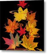 Whirling Autumn Leaves Metal Print