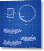 Whiskey Barrel Patent 1968 In Blue Print Metal Print