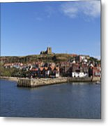 Whitby Harbour With Abbey Ruins Metal Print