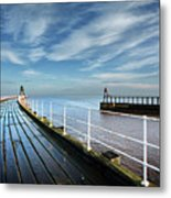 Whitby Piers Metal Print