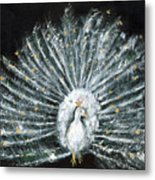 White And Gold Peacock Metal Print