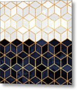 White And Navy Cubes Metal Print