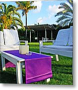 White And Purple Metal Print