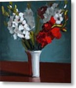 White And Red Gladioli Metal Print