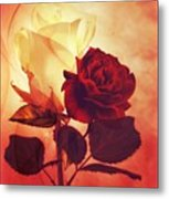 White And Red Roses Metal Print