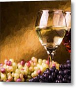 White And Red Wine Metal Print