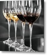 White And Red Wine Glasses Metal Print by Edward Duckitt