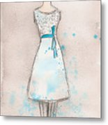White And Teal Dress Metal Print