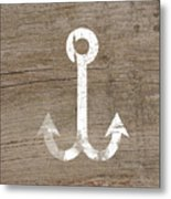 White And Wood Anchor- Art By Linda Woods Metal Print