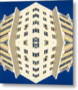 White Apartment Block Abstract And Blue Sky Metal Print
