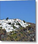 White Architecture In The City Of Oia In Santorini, Greece Metal Print