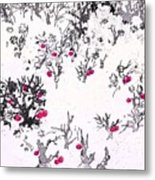 White As Snow With Cherries Metal Print