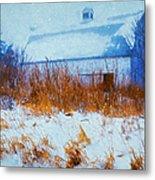 White Barn In Snowstorm Metal Print