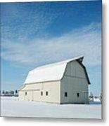 White Barn With Snow Metal Print