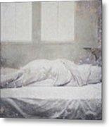 White Bed Sheet- Warmth Metal Print