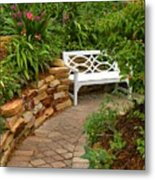 White Bench In The Garden Metal Print