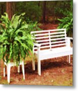 White Bench Sitting In A Beautiful Garden 2 Metal Print