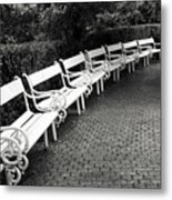White Benches-  By Linda Wood Woods Metal Print