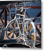 White Bike Metal Print