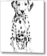 Dalmatian Dog Watercolor Painting, White Black Spotted Dalmatian Puppy Art Print Metal Print