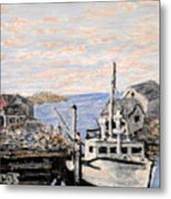 White Boat In Peggys Cove Nova Scotia Metal Print