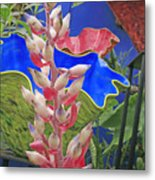 White Bromeliad With Glass Vases Metal Print