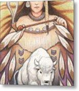 White Buffalo Woman Metal Print