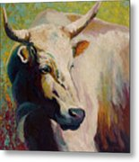 White Bull Portrait Metal Print by Marion Rose