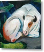 White Bull Resting In The Woods By Franz Marc Metal Print