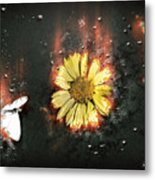 White Butterfly And Yellow Flower Metal Print