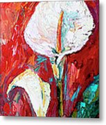 White Calla Lilies Oil Painting Metal Print