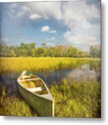 White Canoe Textured Painting Metal Print