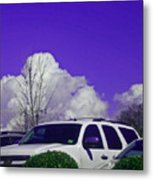 White Car And Clouds Metal Print