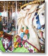 White Carousel Horse Dressed Up Metal Print