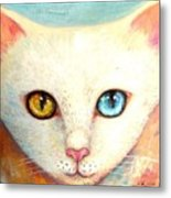 White Cat Metal Print