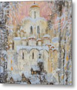 White Cathedral Under Snow Metal Print