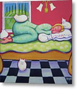 White Cats - Cat Napping Metal Print