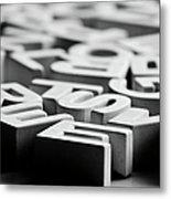 White Ceramic Letters Metal Print