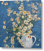 White Chamomile Flowers With Blue Background Metal Print