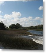White Cloudes Over Water Metal Print