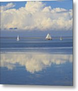 Romantic View With Sailboats In Holland Metal Print