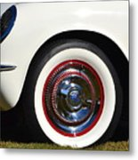 White Corvette Front Fender Metal Print
